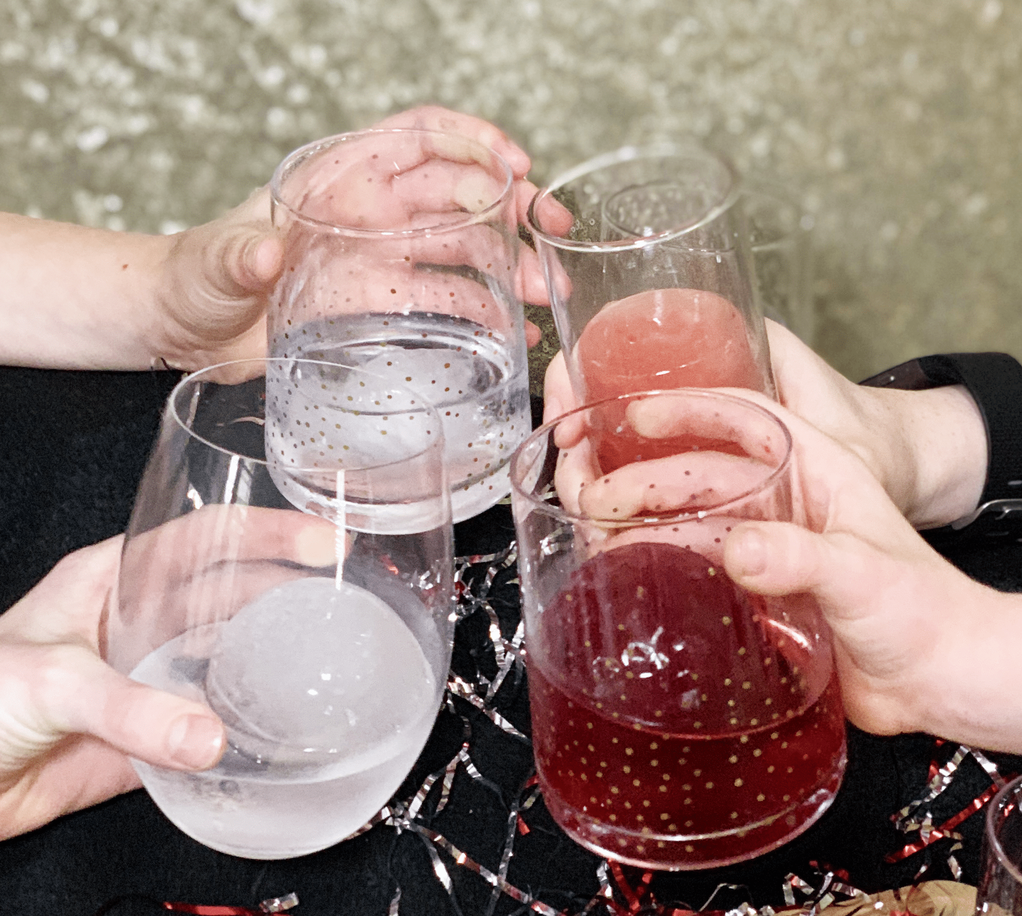 cheers with ice mold mocktails