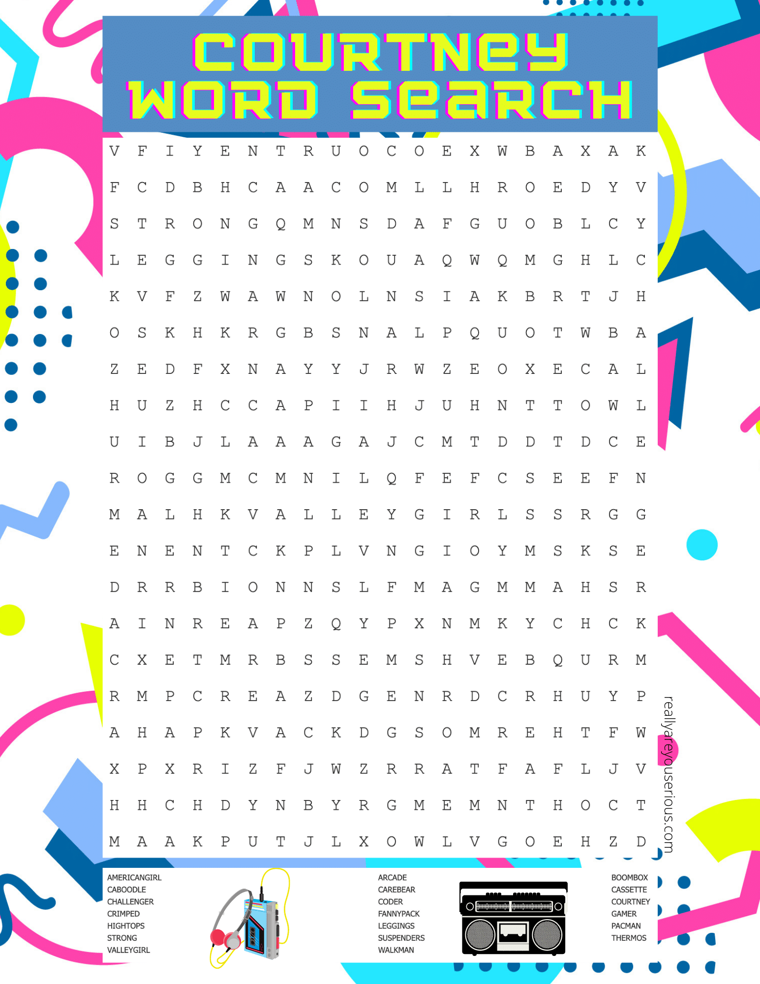 courtney american girl word search
