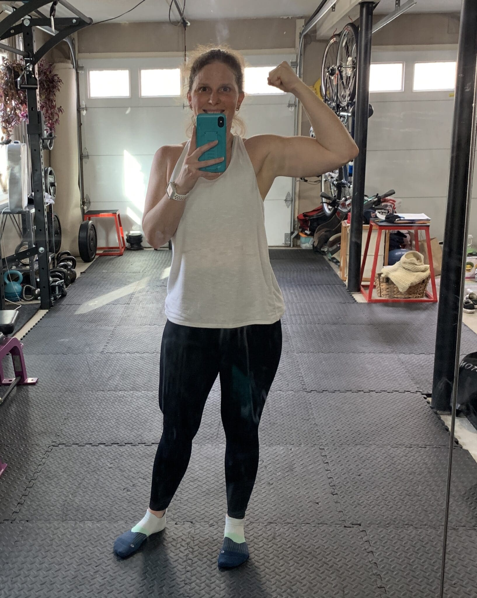 flexing in vshred leggings