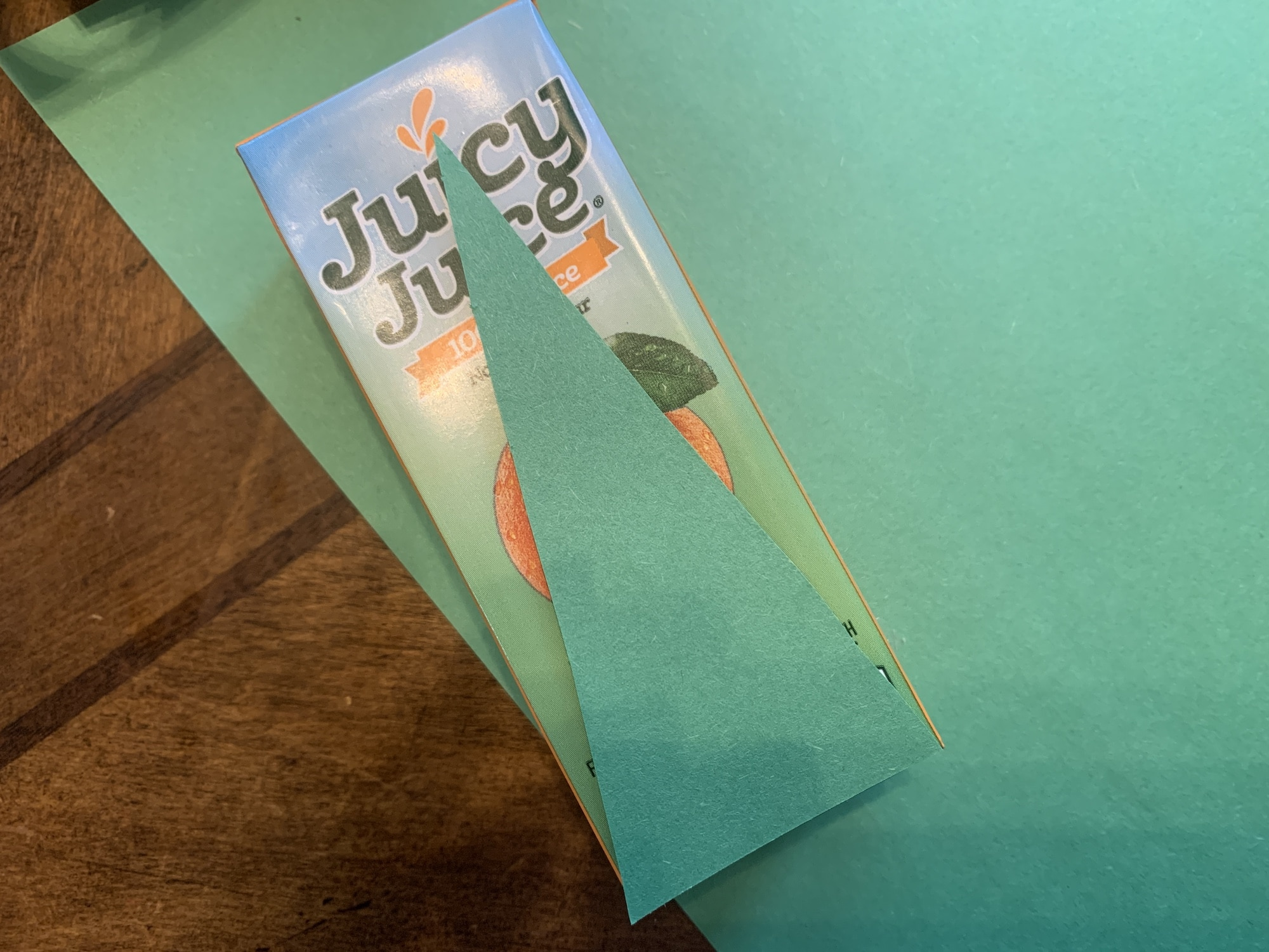 christmas tree cutout on juice box