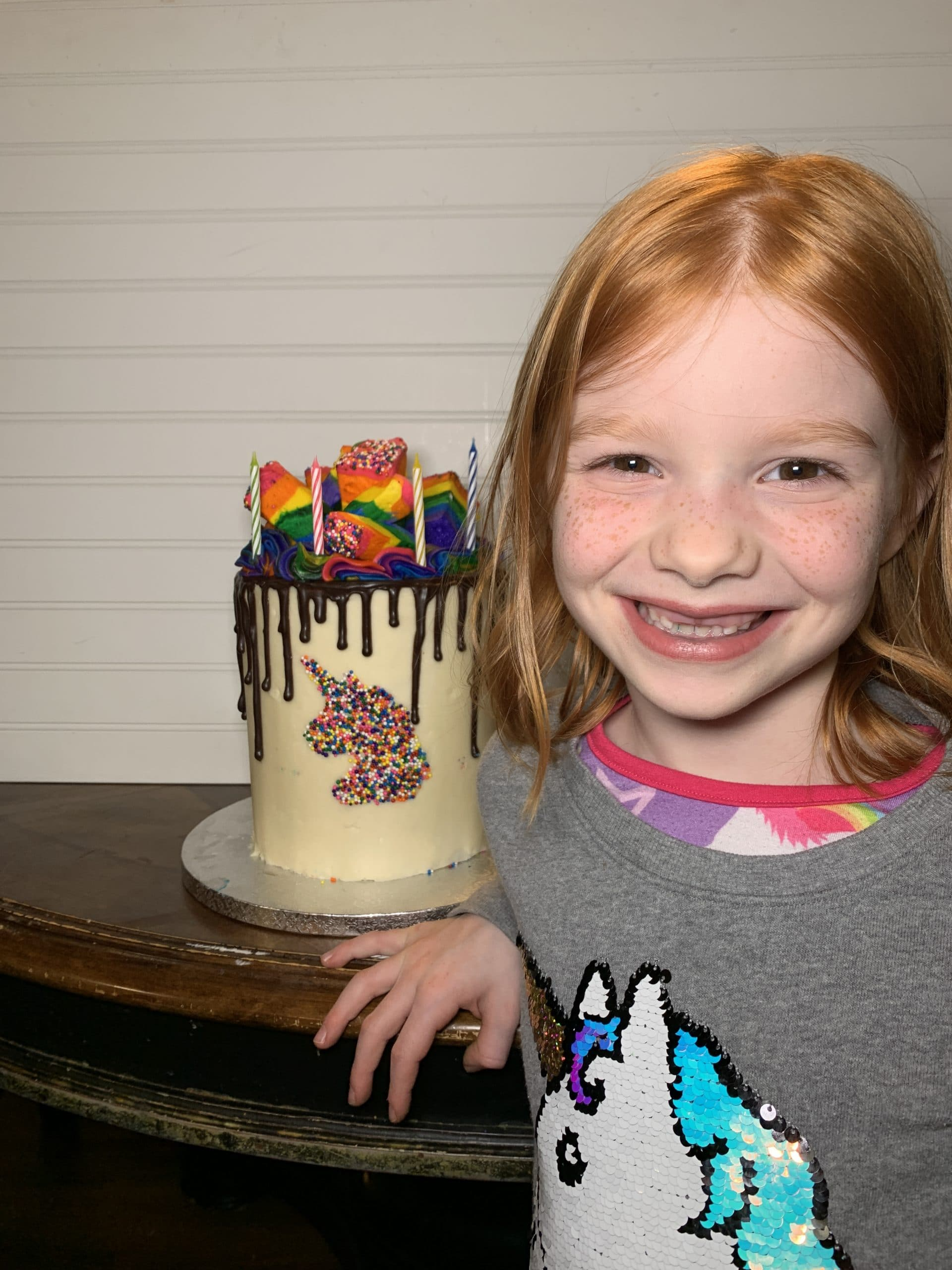 B with 7th birthday cake