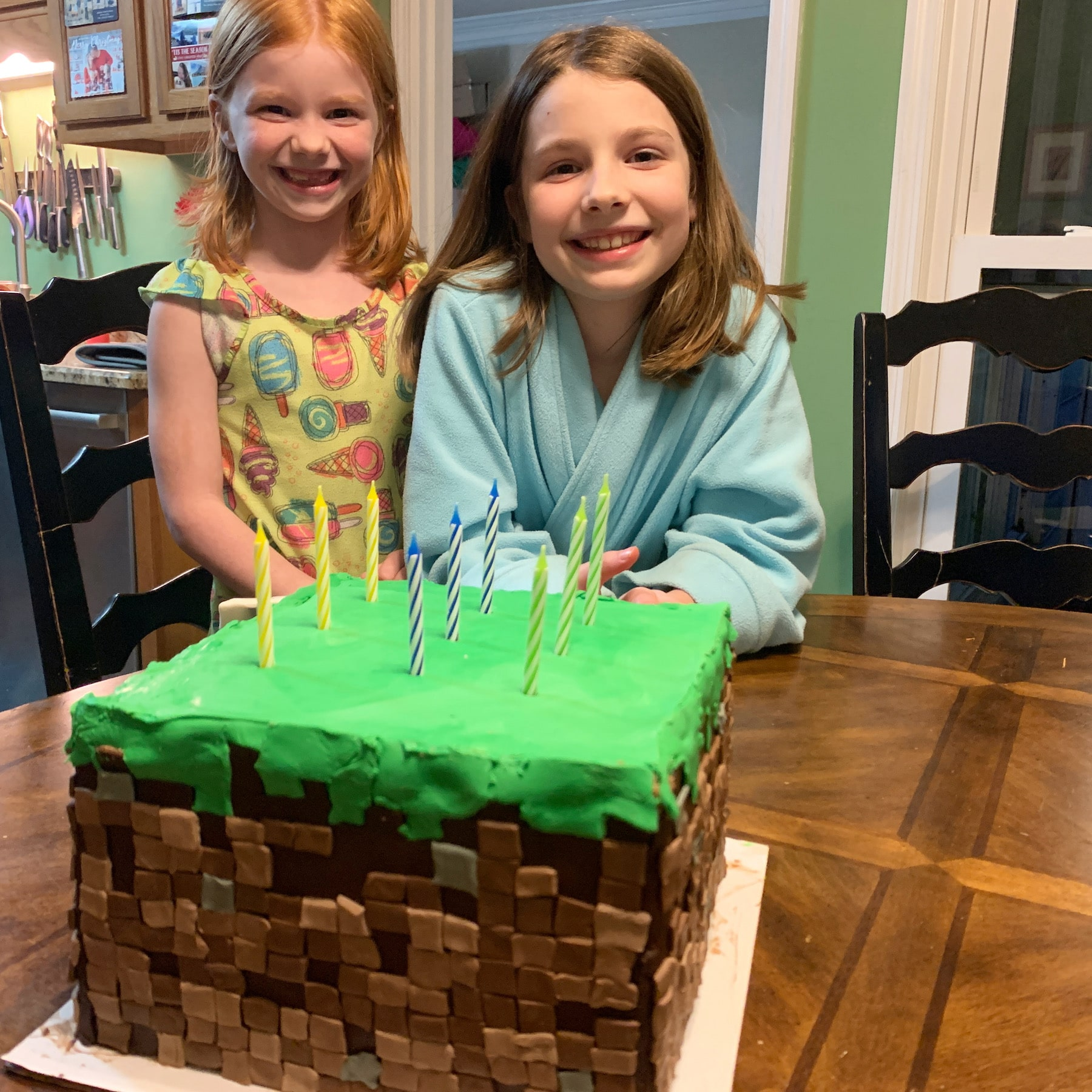 happy birthday e with minecraft cake