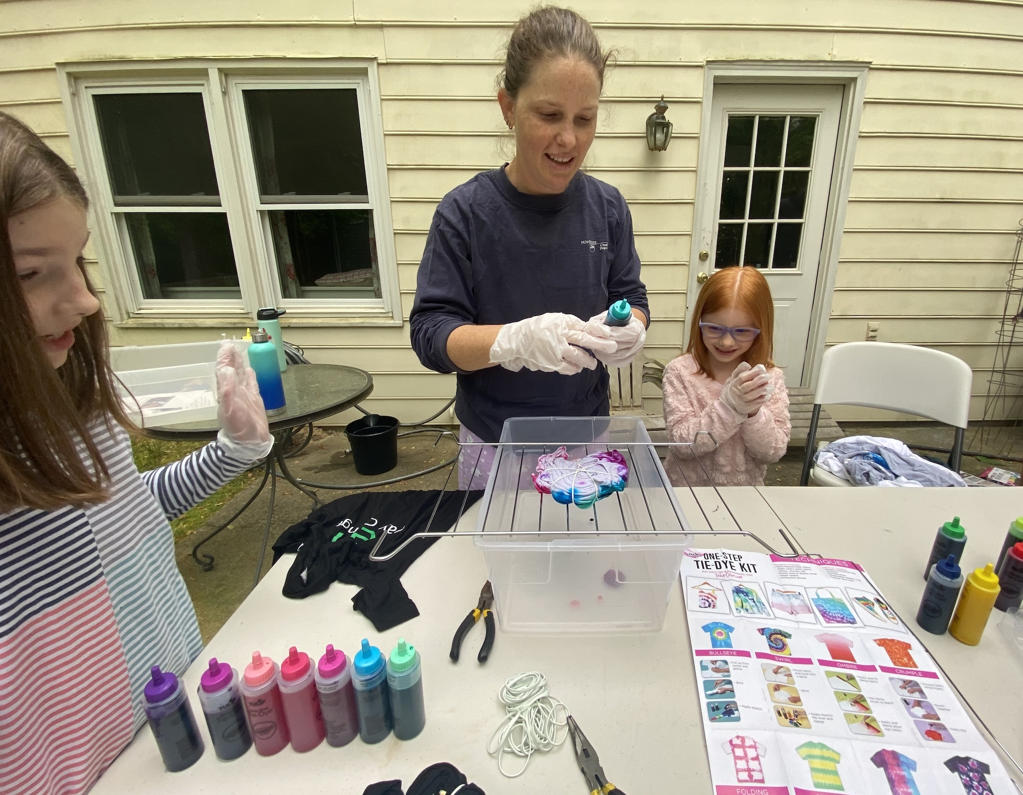 mommy and me monday tie dying shirts