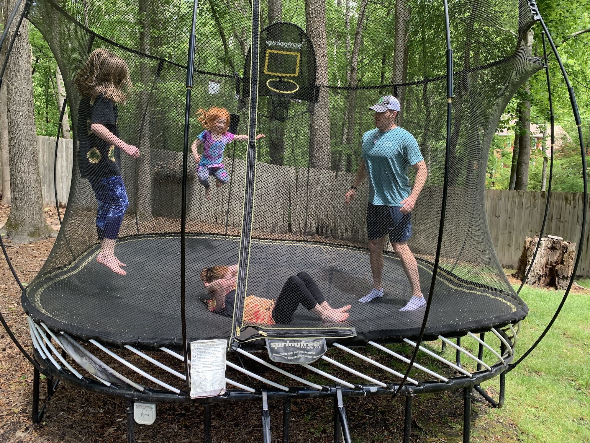 playing on the trampoline