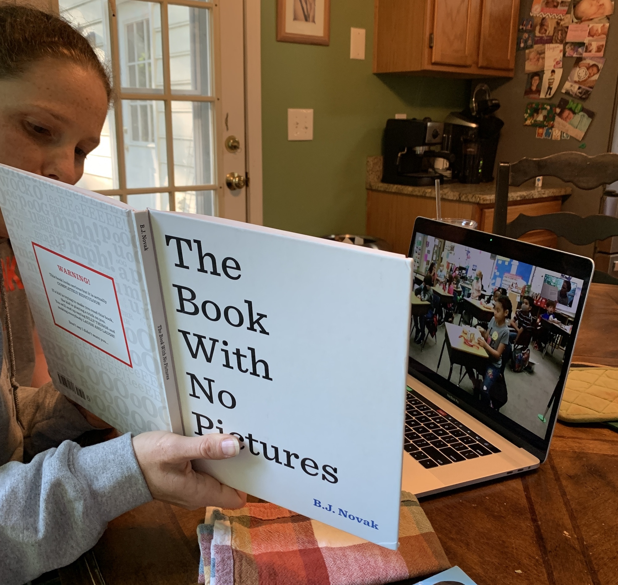 reading the book with no pictures to B's class via zoom