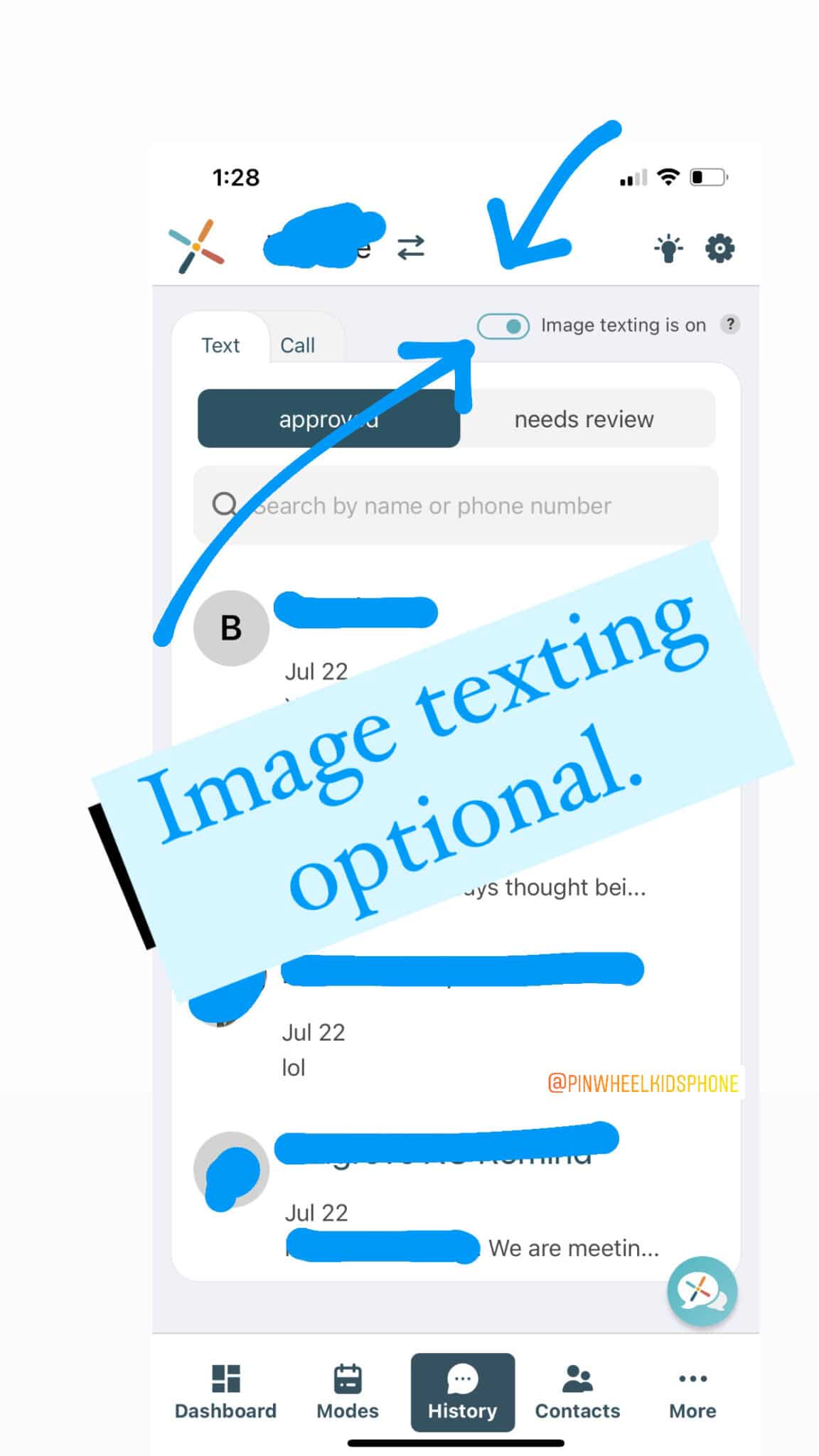 pinwheel phone image texting can be turned on or off