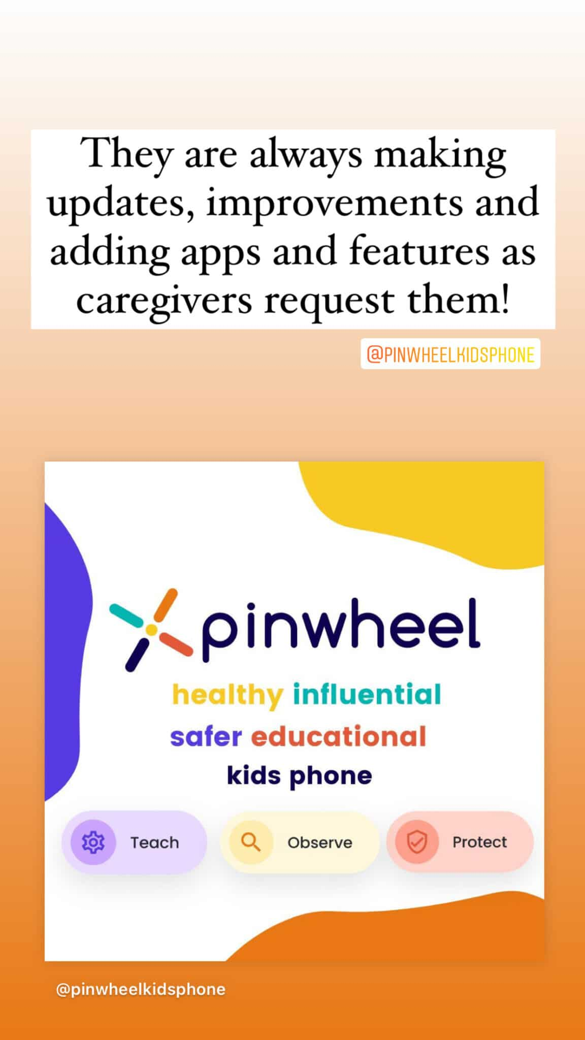 apps on pinwheel can only be added via caregiver console