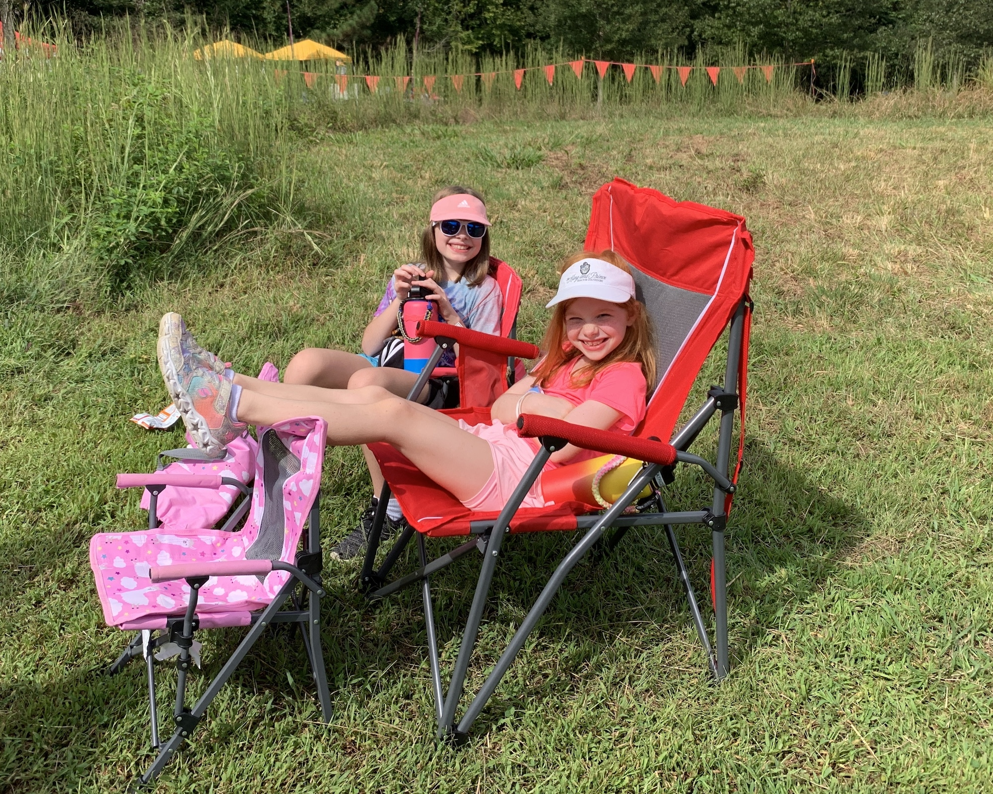 getting comfy at the race