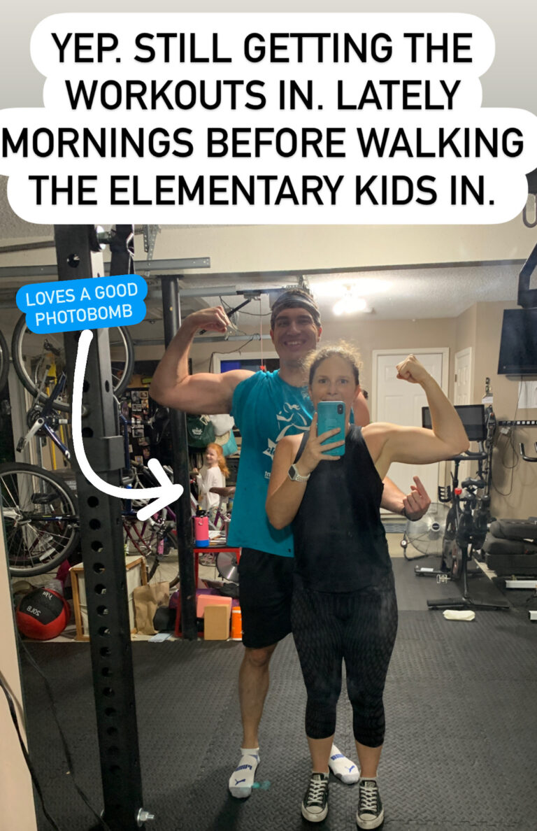 working out with a photobomber mommy and me monday